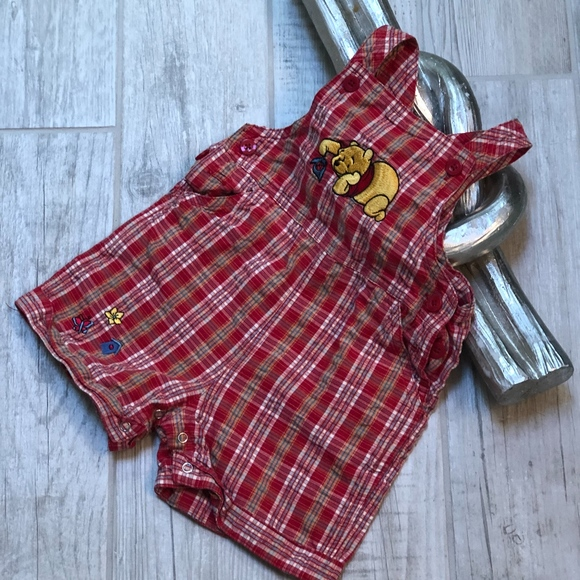 Disney Other - Disney Winnie the Pooh Plaid Overall Shorts Baby